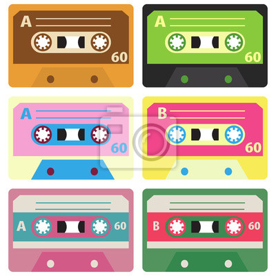 Retro Tape Set Vector Illustration.