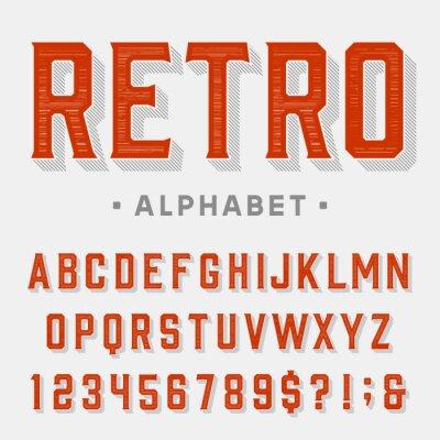 Bild Retro-Vektor-Schriftart. Buchstaben, Zahlen und Symbole. Jahrgang Alphabet für Etiketten, Schlagzeilen, Plakate etc.