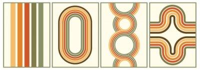 Bild retro vintage 70s style stripes background poster lines. shapes vector design graphic 1970s retro background. abstract stylish 70s era line frame illustration