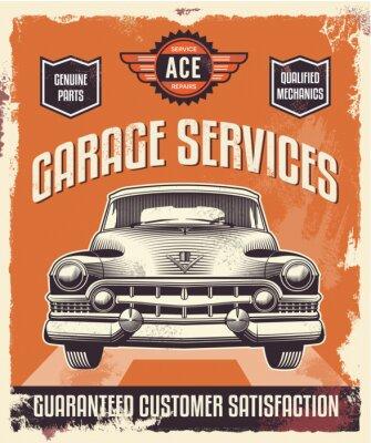 Bild Retro-Vintage-Zeichen - Werbeplakat - Oldtimer - Garage