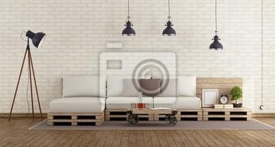Retro Wohnzimmer Mit Paletten Sofa Leinwandbilder Bilder