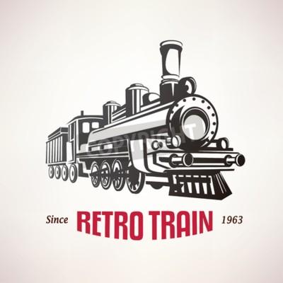 Bild Retro Zug, Jahrgang Vektor-Symbol, Emblem, Label-Vorlage