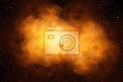 Bild Riesige, extrem heiße Explosion mit Funken und heißem Rauch, vor schwarzem Hintergrund