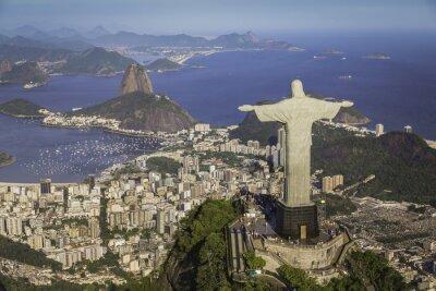 Bild Rio de Janeiro, Brasilien: Luftaufnahme von Christus und Botafogo Bay