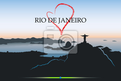 Rio De Janeiro Postkarte - Vektor-Illustration