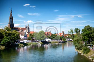 Bild River Danube and Ulm skyline with Ulmer Munster