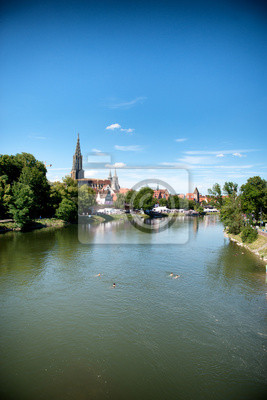 Bild River Danube and Ulm skyline with Ulmer Munster