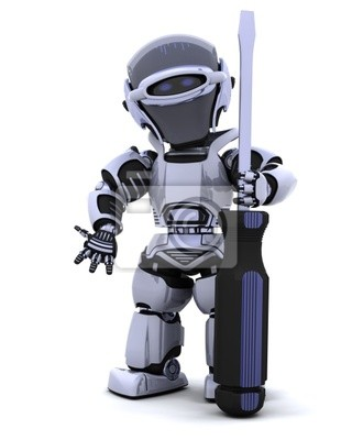 robot with a screwdriver