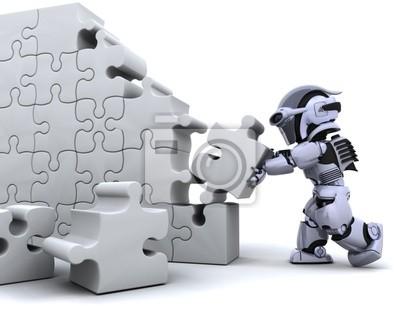Roboter lösen Puzzle