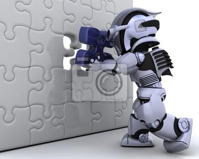 Roboter mit dem letzten Stück des Puzzles