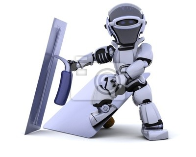 Roboter mit Putzwerkzeuge [Falke und Kelle]