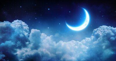 Bild Romantic Moon In Starry Night Over Clouds