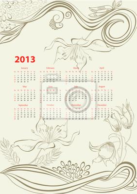 Romantische Hintergrund mit Kalender für 2013