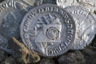 Römische Silbermünzen Mit Schmutz Bedeckt Leinwandbilder Bilder