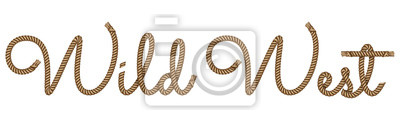 Bild Rope hand drawn lettering Wild West with 3d realistic effect. Vector illustration EPS 10.