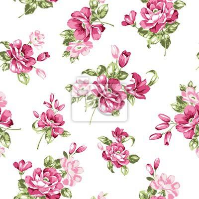 Rosa Blumen Nahtlose Muster
