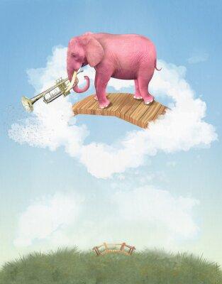 Bild Rosa Elefanten in den Himmel mit einer Trompete. Illustration