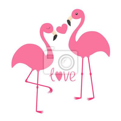 Rosa flamingo paar und herz. wort liebe. exotischer tropischer ...