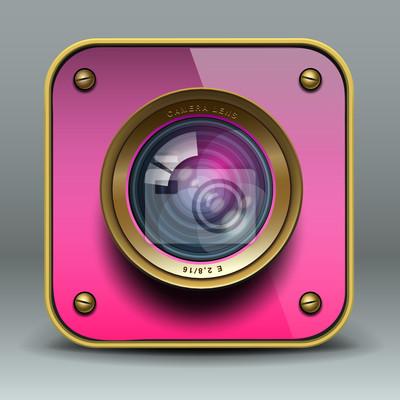 Rosa Foto-Kamera-Symbol, Vektor-Illustration eps10.