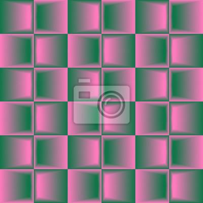 Rosa grünes gemischtes geometrisches nahtloses Muster.