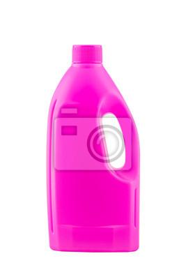 Rosa Kunststoff Bleichmittel Flasche auf weißem Hintergrund