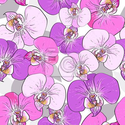 Rosa Orchidee Blumen - nahtlose Vektor-Muster
