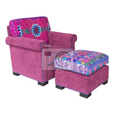 Rosa Stoff Sessel Und Hocker Leinwandbilder Bilder Couch Sessel
