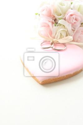 Rosa Zuckerguss Cookie Mit Hochzeitsringen Leinwandbilder Bilder