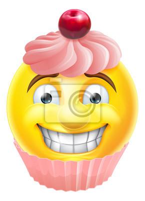 Rosafarbener Kleiner Kuchen Emoji Emoticon Leinwandbilder Bilder