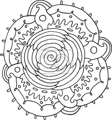 Bild Rosen Blumen Mandala Doodle Malvorlagen Für Erwachsene Vektor Illustration