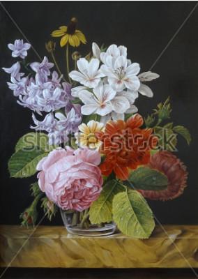 Bild Rosen in einer Glasvase. Mohnblumen, Veilchen, Kamille. Malerei. Stillleben.