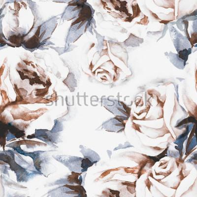 Bild Rosen-nahtloses Muster. Aquarell-Illustration.