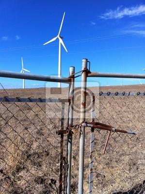 Rostiger Zaun Schutzt Windpark Leinwandbilder Bilder Windkraft