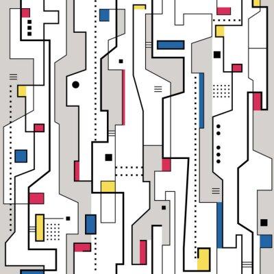 Bild rot, gelb, blau und grau abstrakte Muster
