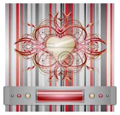 Rot - grauen Hintergrund mit Herz. Abbildung 10 Version
