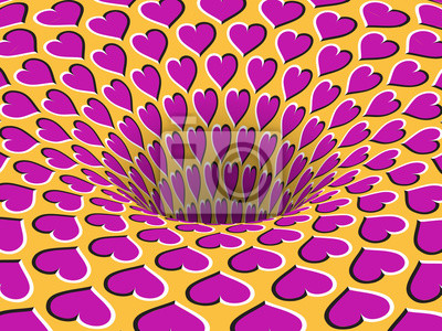 Rotating hearts patterned hole. Vector optical illusion background.