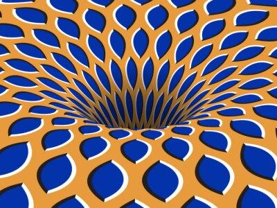 Rotating hole of moving blue orange ornament. Vector optical illusion background.