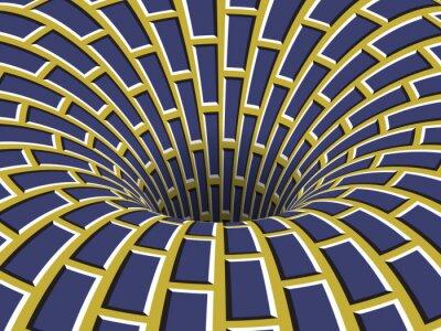 Rotating hole of moving blue yellow brickwork pattern. Vector optical illusion illustration.