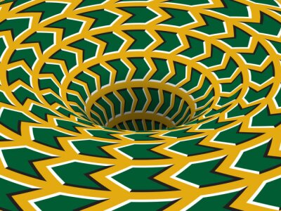 Rotating hole of moving green yellow arrows ornament. Vector optical illusion background.