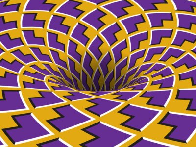 Rotating hole of moving purple yellow arrows ornament. Vector optical illusion background.