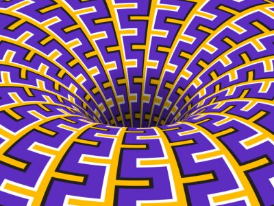 Rotating hole of moving purple yellow ornament. Vector optical illusion background.