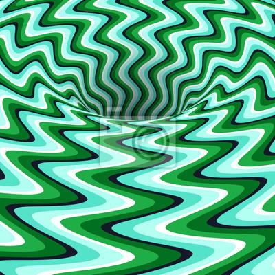 Rotating hole of zigzag stripes pattern. Vector optical illusion background.