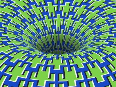 Rotating people symbols patterned hole. Vector optical illusion background.