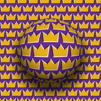 Rotating sphere of crown shape pattern. Vector purple golden optical illusion decoration.