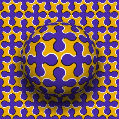 Rotating sphere of cruciform shape pattern. Vector blue golden optical illusion background.