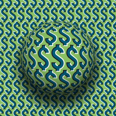 Rotating sphere of dollar sign pattern. Vector blue green optical illusion decoration.