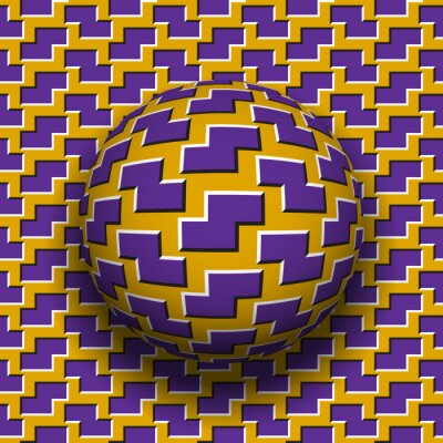 Rotating sphere of zigzag shapes pattern. Vector purple golden optical illusion background.