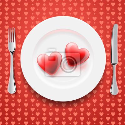Rote Herzen auf einem Teller, Messer und Gabel, vector eps10 Bild