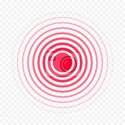 Bild Rote Ikone des Schmerzkreises für medizinische Schmerzmittelmedikamentmedizin. Vektor rote Kreise Ziel Ort Symbol für Pille Medikamente Design-Vorlage von Körper oder muskulösen Gelenkschmerzen und Ko