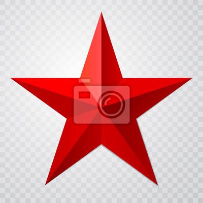 Bild Rote Ikone des Sternes 3d mit Schatten auf transparentem Hintergrund. Vektor-Illustration für UdSSR-Design